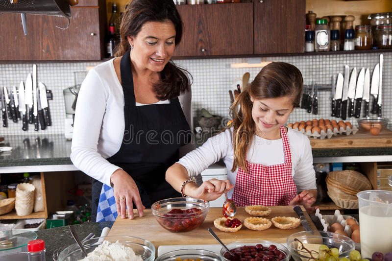 Download Mother And Daughter Baking At Home Stock Photo - Image of dessert, cook: 22276672