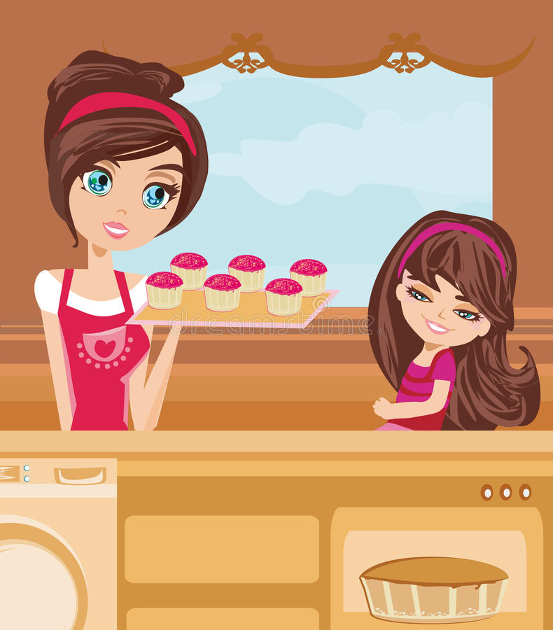 Mother and daughter Baking muffins. Vector Illustration royalty free illustration