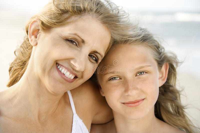 Mother and Daughter at the Beach royalty free stock photo