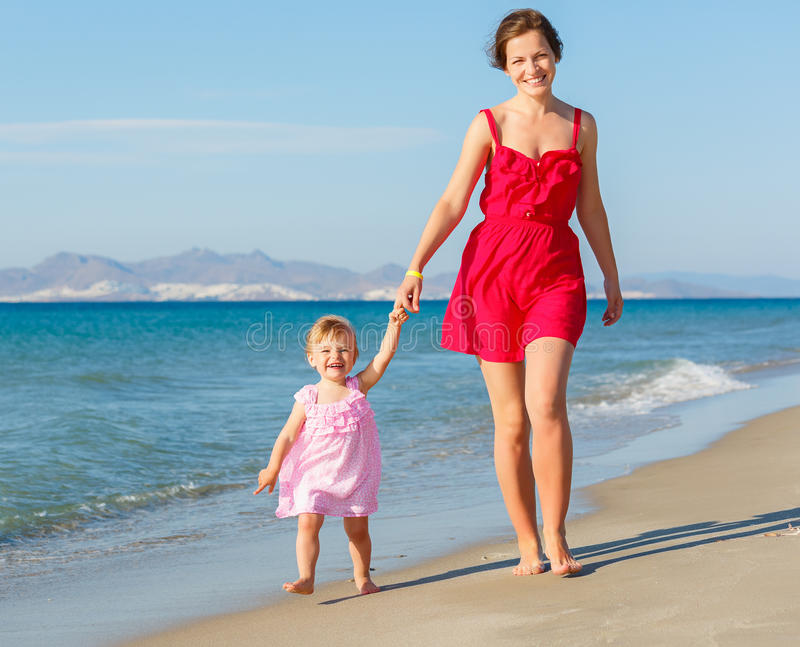 Download Mother And Daughter On The Beach Stock Image - Image: 25598751