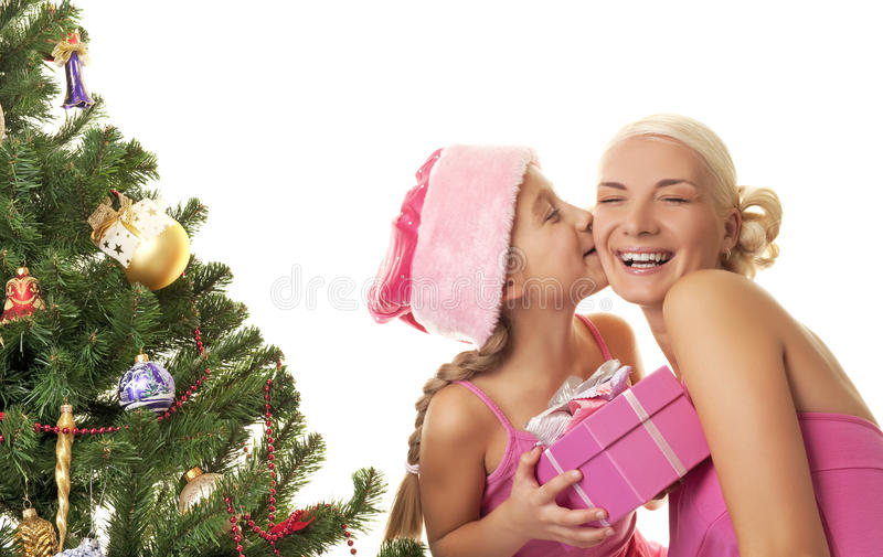 Mother And Daughter Celebrating Christmas Stock Image