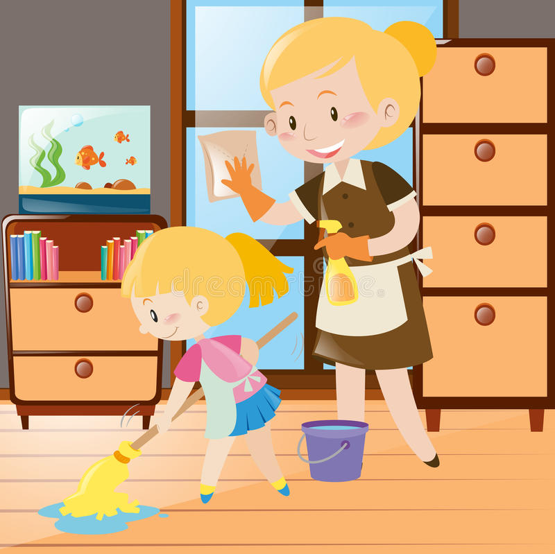 Mother And Daughter Cleaning The House Stock Vector