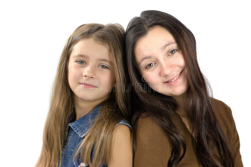 Mother daughter close together stock images