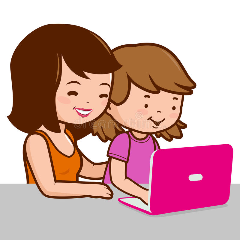 Mother and daughter on the computer. Vector Illustration of a mother and a child sitting on the desk in front of the computer royalty free illustration