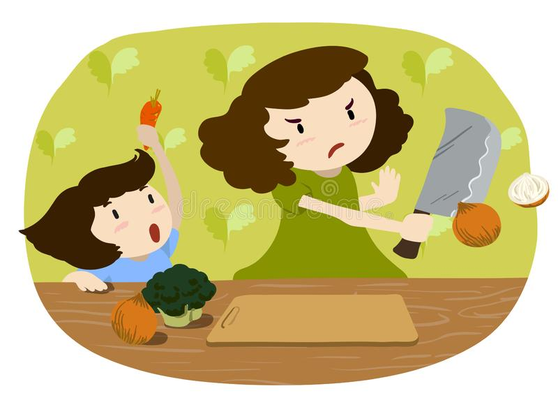Mother and daughter cooking, chopping vegetables royalty free illustration
