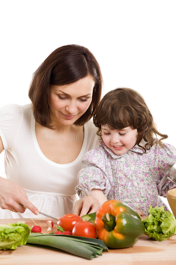 Download Mother And Daughter Cooking At The Kitchen Royalty Free Stock Photography - Image: 5037697