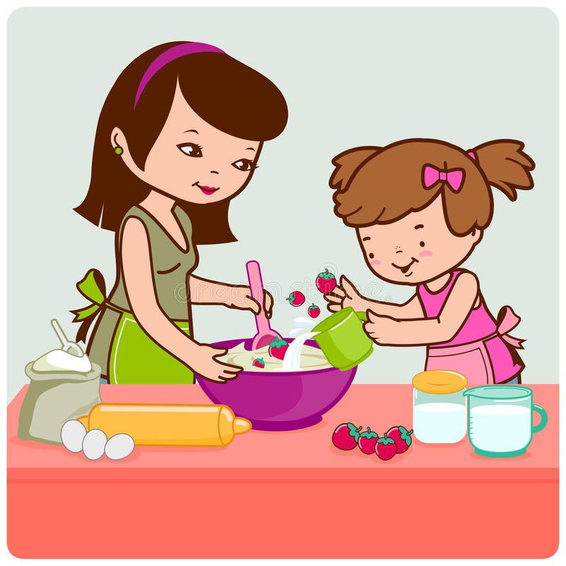 Mother And Daughter Cooking Stock Vector - Illustration of ...