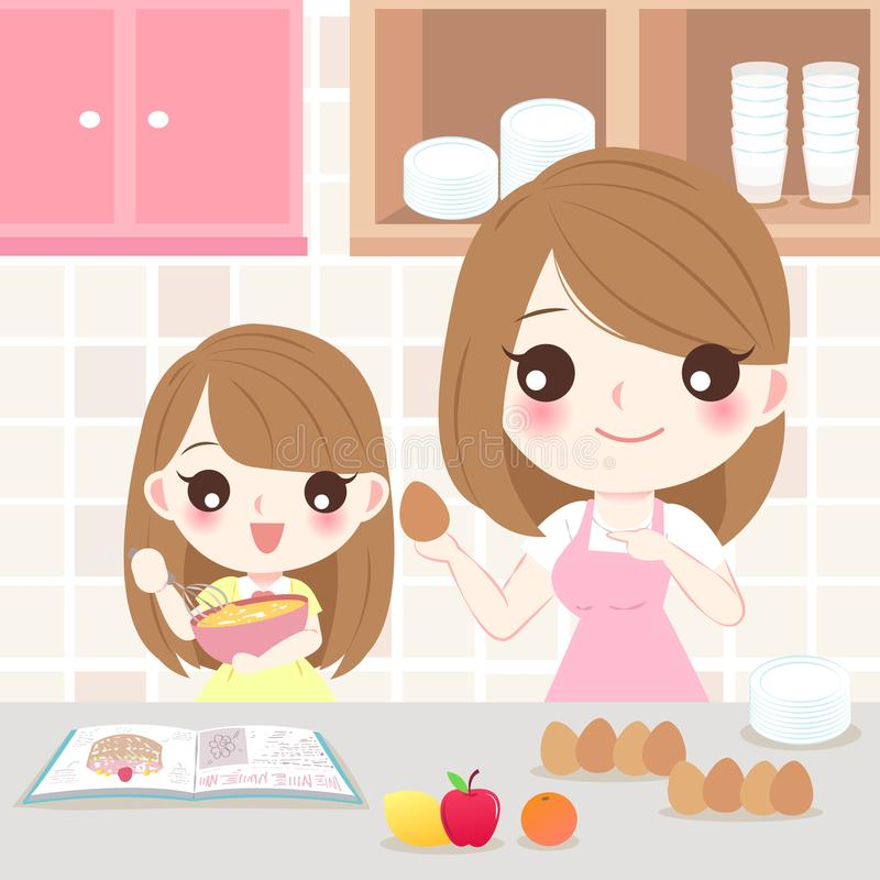 Mother and daughter cooking vector illustration