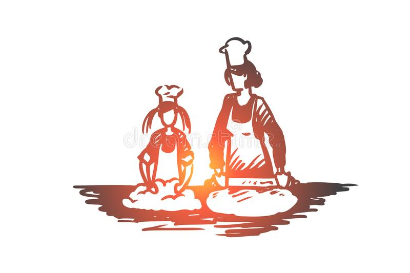 Mother, daughter, cooking, parenting concept. Hand drawn isolated vector. Mother, daughter, cooking, parenting concept. Hand drawn mom and daughter cooking royalty free illustration
