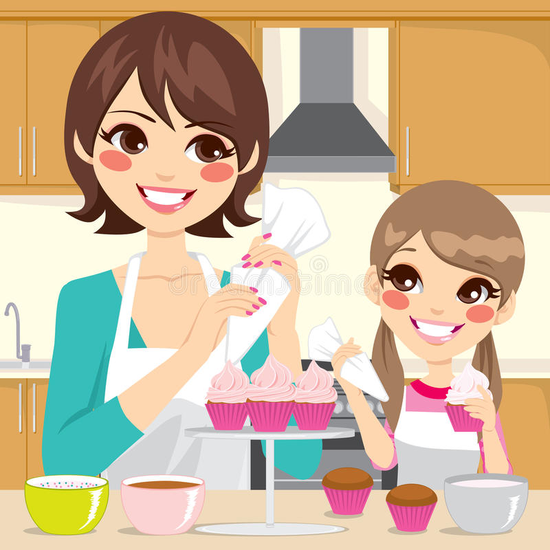 Mother And Daughter Decorating Cupcakes Stock Vector ...