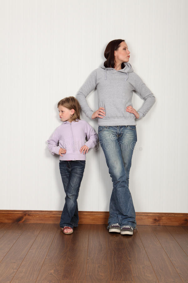 Mother daughter dispute not speaking and angry royalty free stock photo