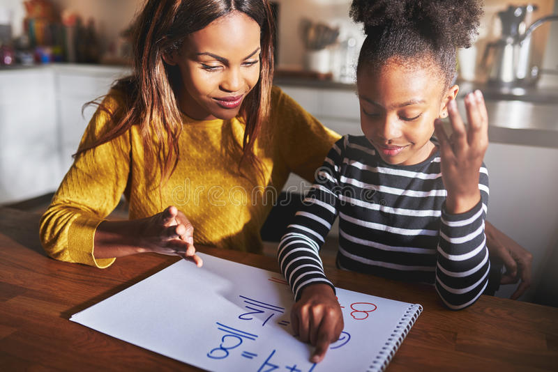 Mother and daughter doing homework royalty free stock image