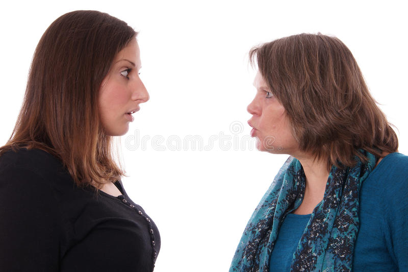 Mother and daughter fighting stock photos