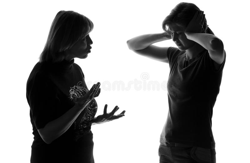 Mother and daughter find out the relationship stock image