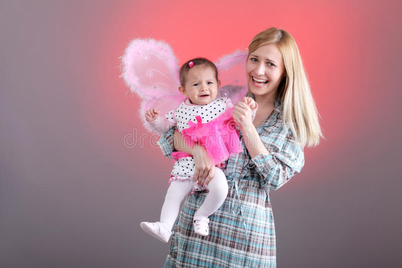 Mother and daughter funny expressions royalty free stock image