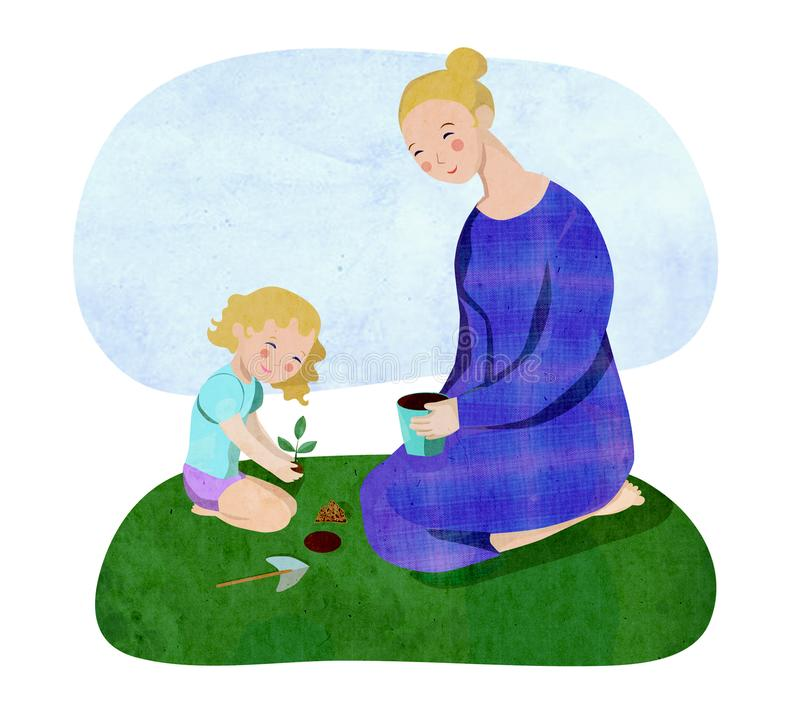 Mother and daughter gardening vector illustration