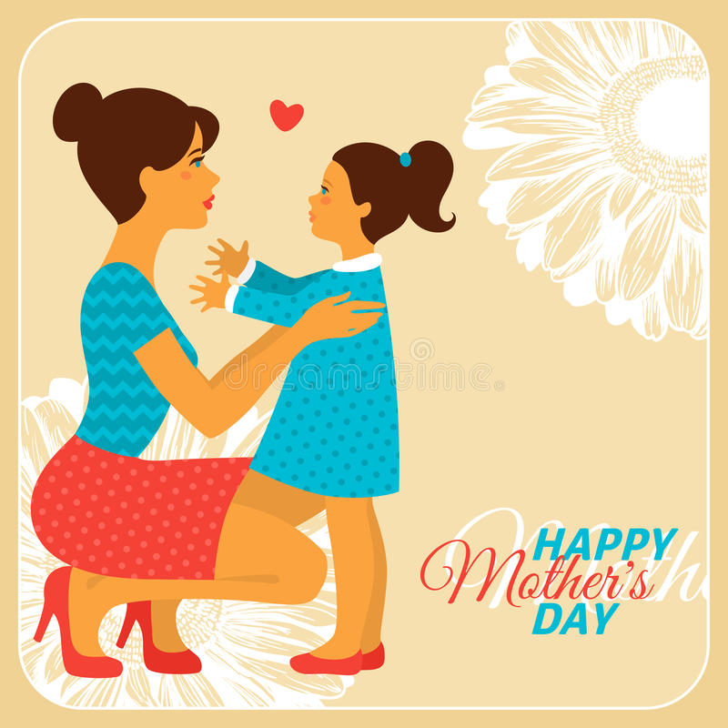 Mother and Daughter with Happy Mothers Day stock illustration