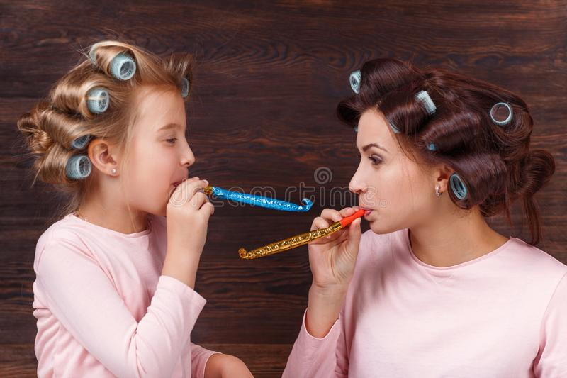 Mother and daughter having fun together stock photography