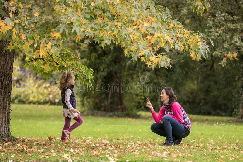 Mother and daughter having fun under tree with autumn leaves in the park, blond cute curly girl, happy family, beautiful girl in stock image
