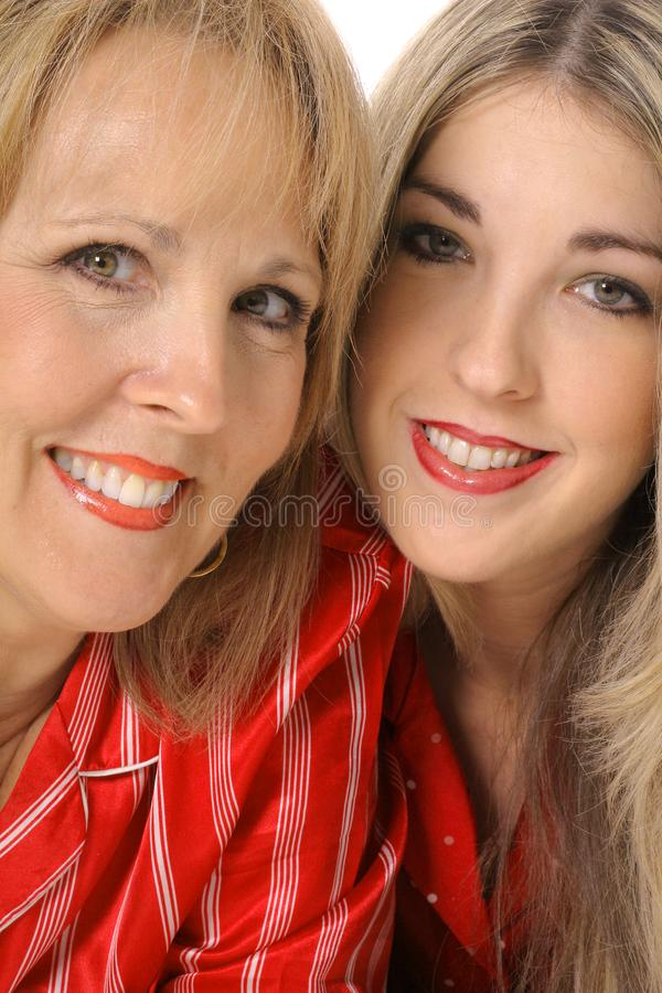 Mother daughter headshot vertical royalty free stock images