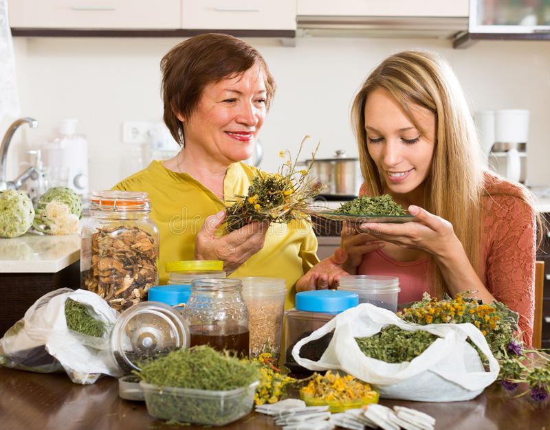 Mother and daughter with herbal tea royalty free stock images