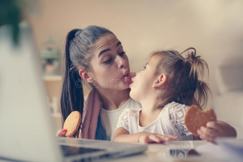 Mother and daughter at home. royalty free stock photo