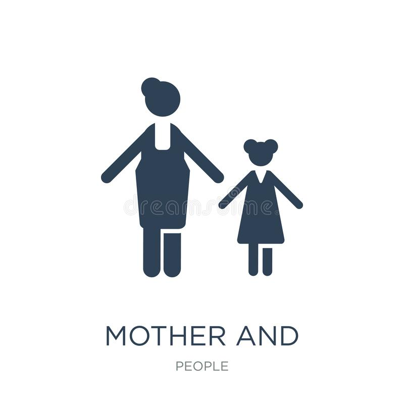 Mother and daughter icon in trendy design style. mother and daughter icon isolated on white background. mother and daughter vector. Icon simple and modern flat vector illustration