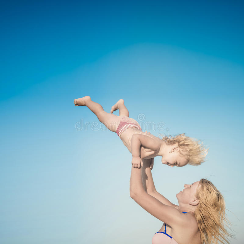 Mother and daughter. Instagram stylization stock photo