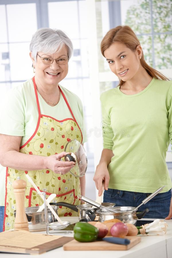 Download Mother And Daughter In Kitchen Smiling Stock Image - Image: 22193991