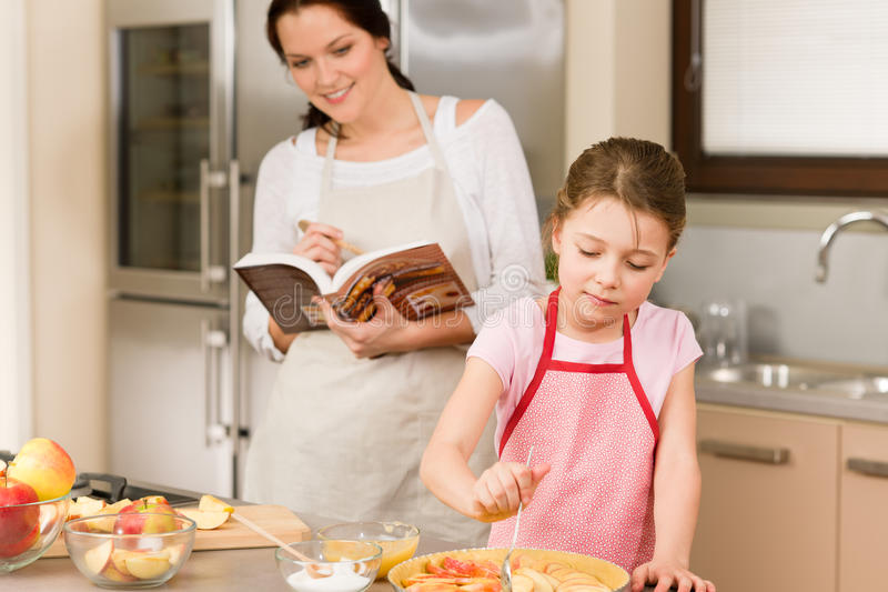 Mother And Daughter Make Apple Pie Recipe Stock Image