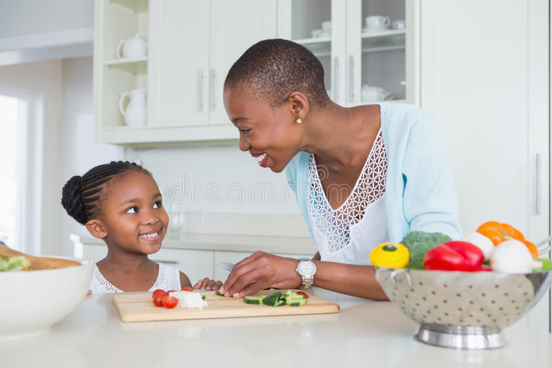 Mother and daughter making a salad together stock photography