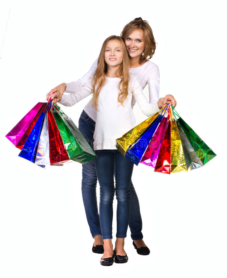 Mother and daughter with many boxs stock photo