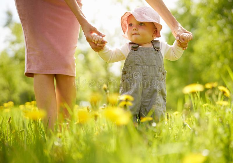 Mother and daughter on a meadow with dandelions stock photo