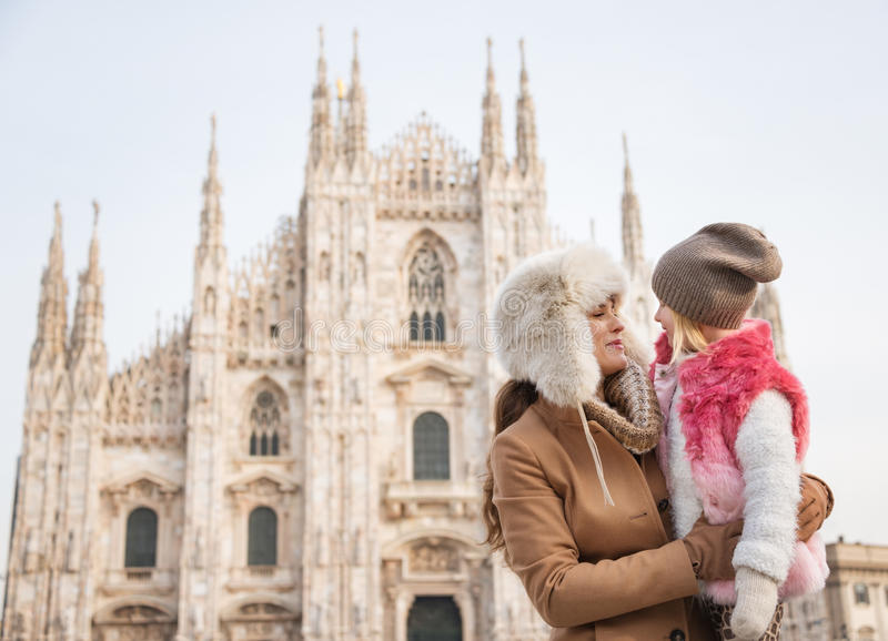 Mother and daughter near Duomo spending time sightseeing Milan stock photography