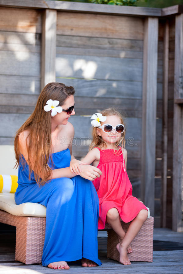 Download Mother And Daughter At Outdoor Terrace Stock Photo - Image: 29148420