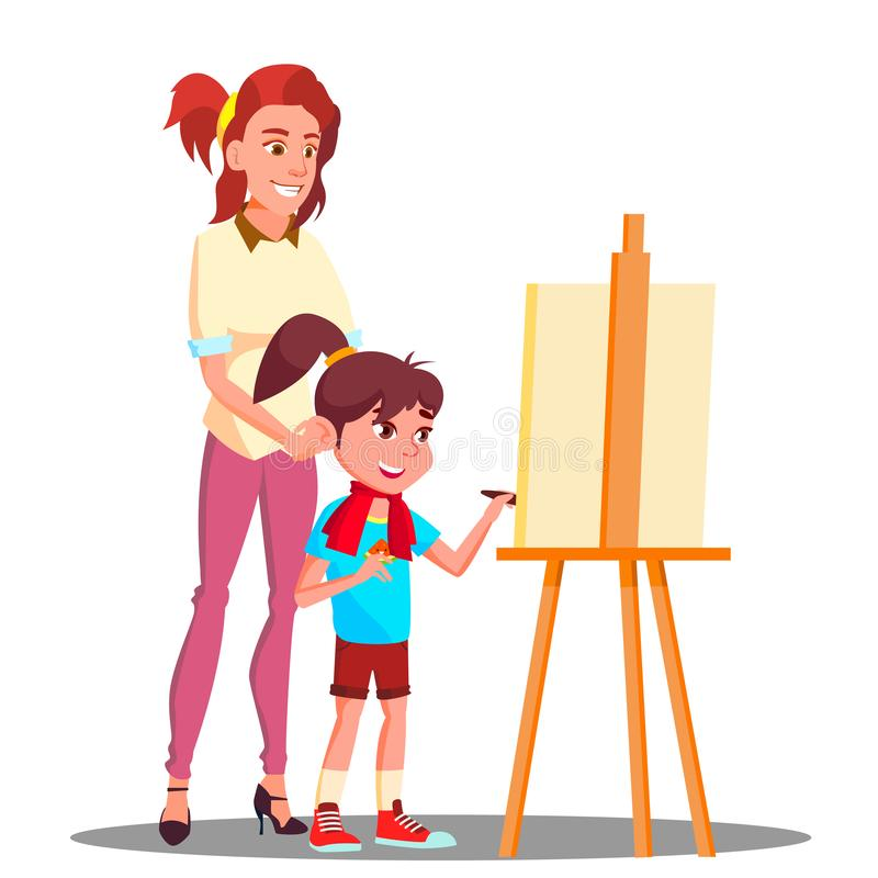 Mother And Daughter Painting On The Easel Vector. Isolated Illustration stock illustration