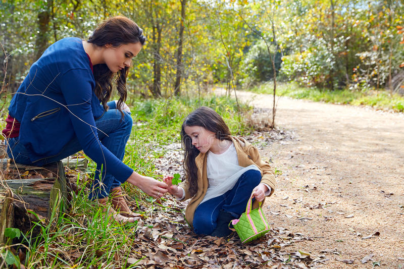 Mother daughter in a park picking clover plants royalty free stock image