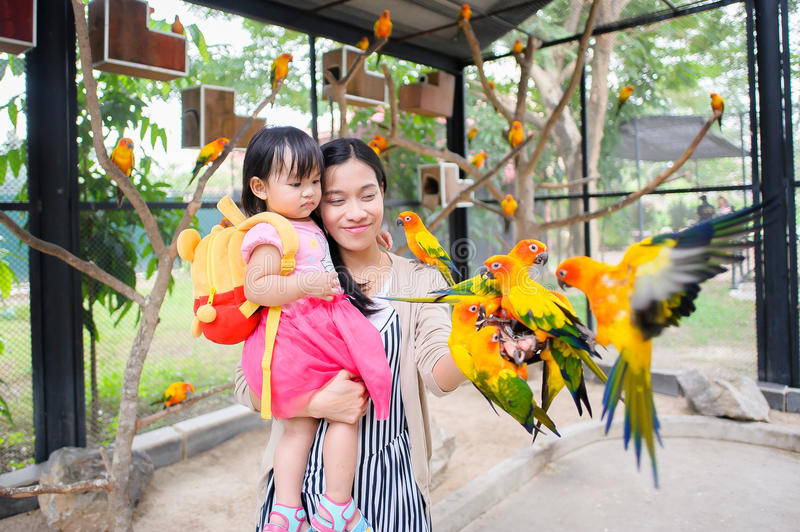 Mother and daughter and Parrot stock images