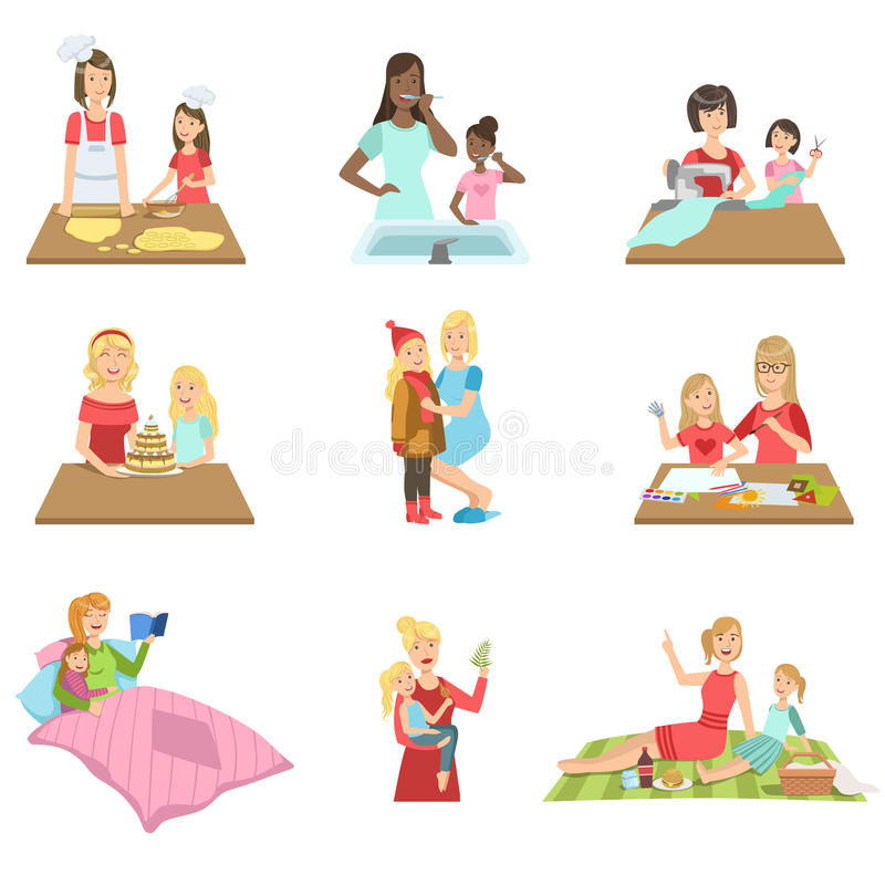 Mother And Daughter Passing Time Together Set Of Illustrations. Cute Simple Cartoon Style Drawings Of Single Mom And Her Kid Pastime vector illustration