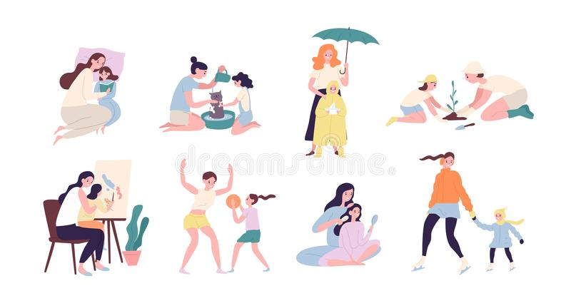 Mother and daughter performing daily activities together - reading book, planting tree, walking under rain, playing vector illustration