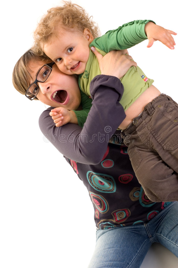 Mother and daughter playing stock image