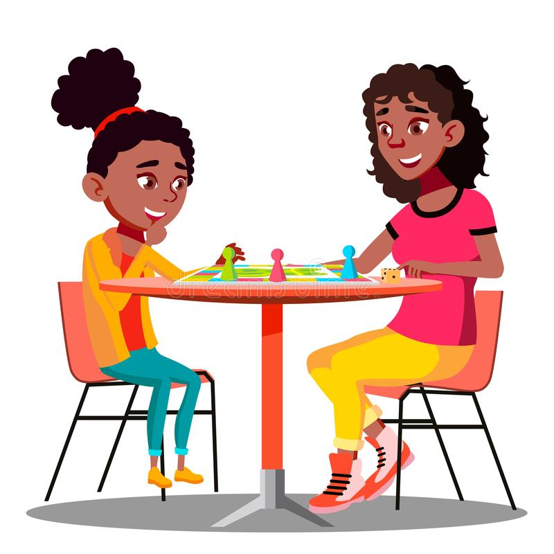 Mother And Daughter Playing A Board Game Together Vector. Isolated Illustration vector illustration
