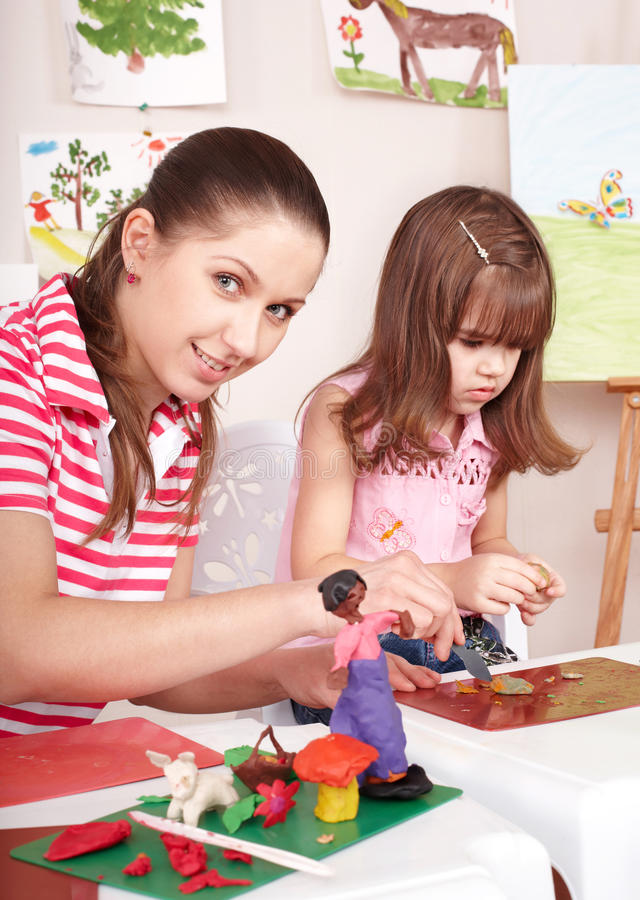 Download Mother And  Daughter Playing Plasticine. Stock Image - Image: 15471657
