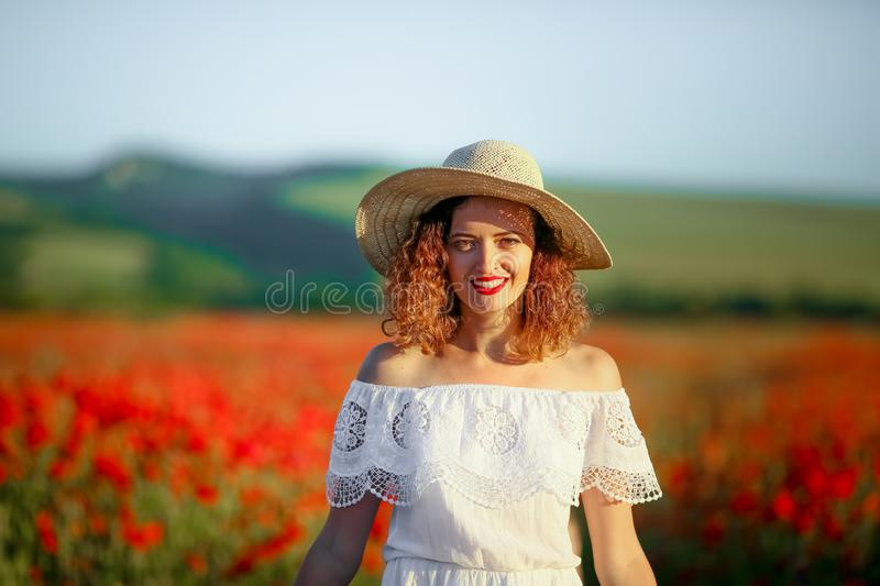 Mother and daughter in poppy field Royalty Free Stock Images stock photography