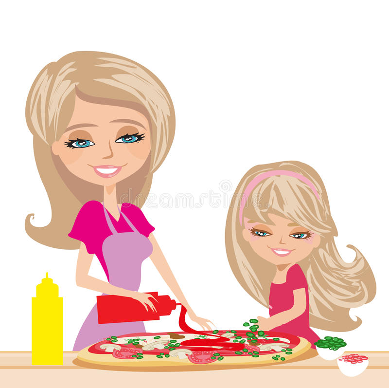 Mother with daughter preparing pizzas stock illustration