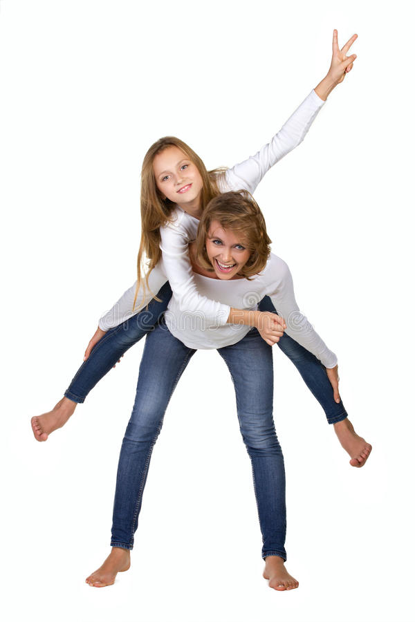Mother and daughter recreateving royalty free stock photography