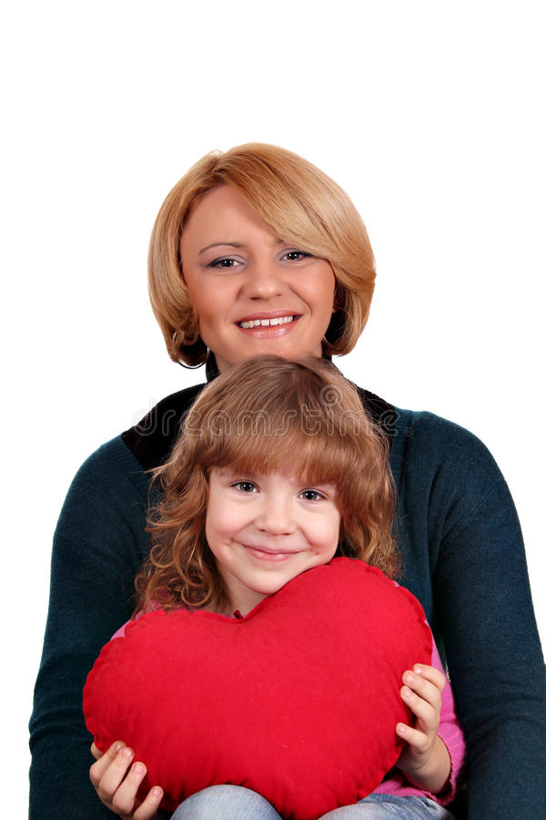 Mother and daughter with red heart
