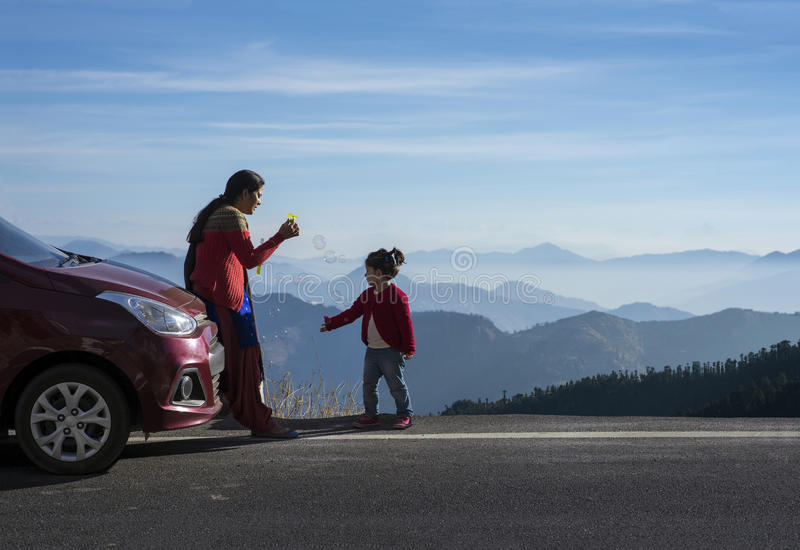 Mother and daughter on a road trip. royalty free stock photos