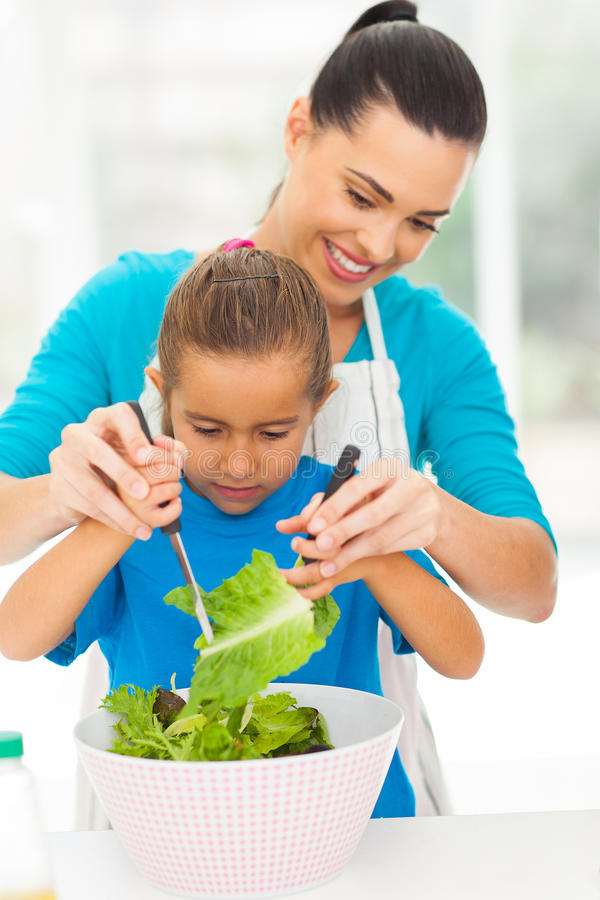 Mother daughter salad royalty free stock images