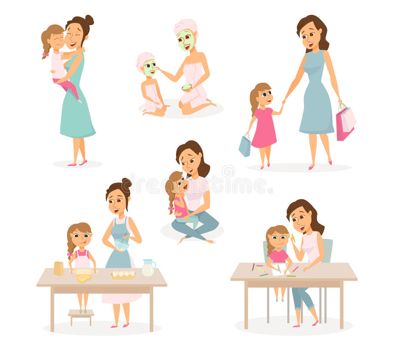 Mother and daughter set vector illustration